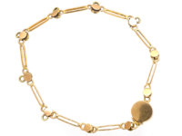 Edwardian 15ct Gold Turquoise & Natural Split Pearl Bracelet for Charms