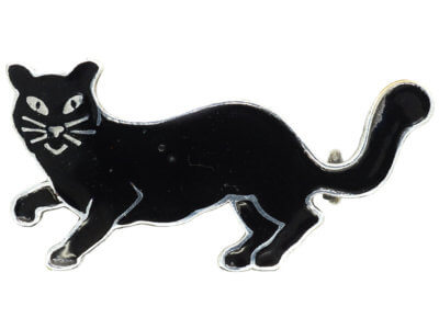 Art Deco Silver & Black Enamel Lucky Cat Brooch