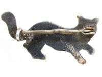 Art Deco Silver & Black Enamel Lucky Cat Brooch