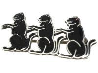 Art Deco Silver & Black Enamel Three Cats Brooch