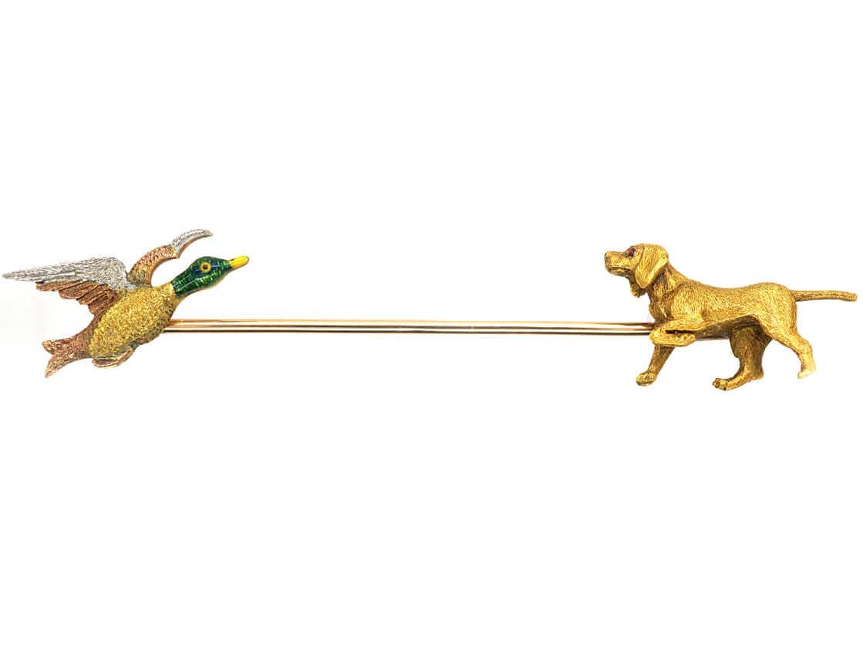 Edwardian 15ct Gold, Platinum & Enamel Shooting Brooch of a Gun Dog & Duck