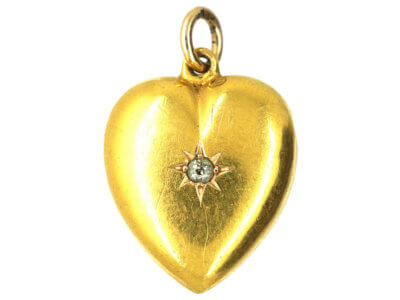 Edwardian 15ct Gold & Diamond Heart Shaped Pendant