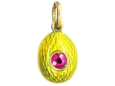 Edwardian Ruby & Yellow Enamel Egg Pendant