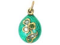 Russian 14ct Gold & Turquoise Enamel & Diamond Shamrock Egg Pendant