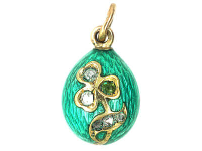 Russian 14ct Gold & Turquoise Enamel & Diamond Shamrock Egg Pendant