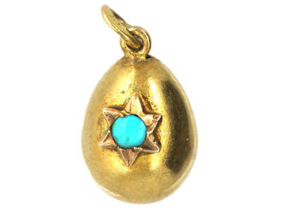 Russian 14ct Gold Small Egg Pendant set with a Turquoise