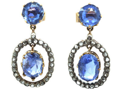 Edwardian Ceylon Sapphire & Rose Diamond Drop Earrings
