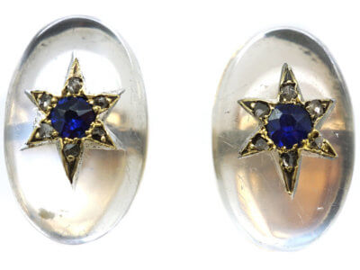 Edwardian Cabochon Moonstone , Sapphire & Rose Diamond Earrings
