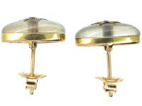 Edwardian Cabochon Moonstone , Sapphire & Rose Diamond Earrings