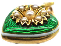 Edwardian 15ct Gold, Enamel & Natural Split Pearl Heart Pendant with Locket Back
