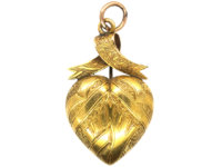 Victorian Heart Shaped Pendant with Ribbon Top