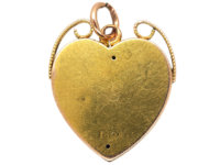 Edwardian 15ct Gold Heart Shaped Pendant set with an Opal