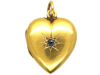 Edwardian 15ct Gold Heart Locket set with a Sapphire