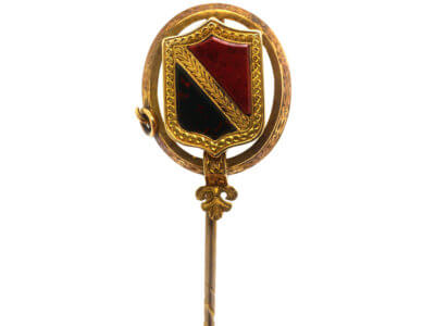 Victorian 15ct Gold, Jasper & Bloodstone Scottish Shield Tie Pin in Original Case