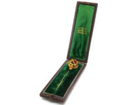 Victorian 15ct Gold, Jasper & Bloodstone Scottish Shield Tie Pin in Original Case