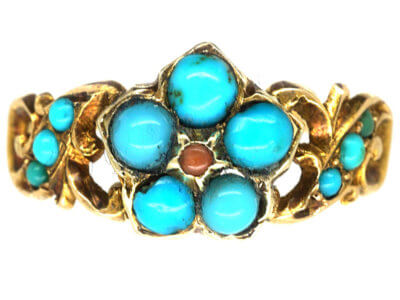 Regency 15ct Gold, Coral & Turquoise Forget me Not Ring