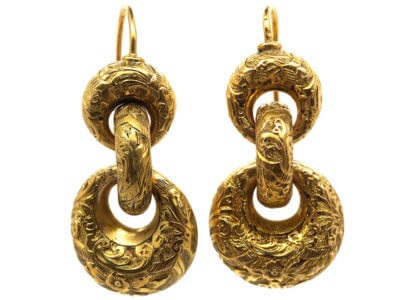 Victorian 15ct Gold Triple Hoop Earrings