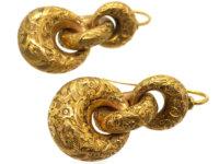 Victorian 15ct Gold Triple Hoop Earrings