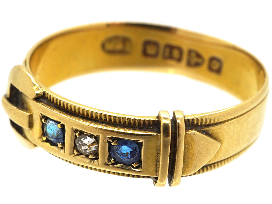 Victorian 18ct Gold Buckle Ring set with Sapphires & a Diamond