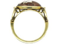 Art Deco 14ct Gold Reverse Intaglio Rock Crystal of a Horse's Head Ring