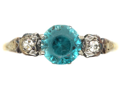 Art Deco 18ct Gold Blue Zircon & Diamond Ring