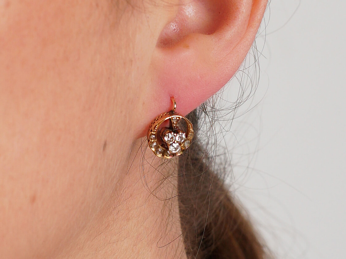 Edwardian 18ct Gold & Diamond Clover and Moon Crescent Earrings