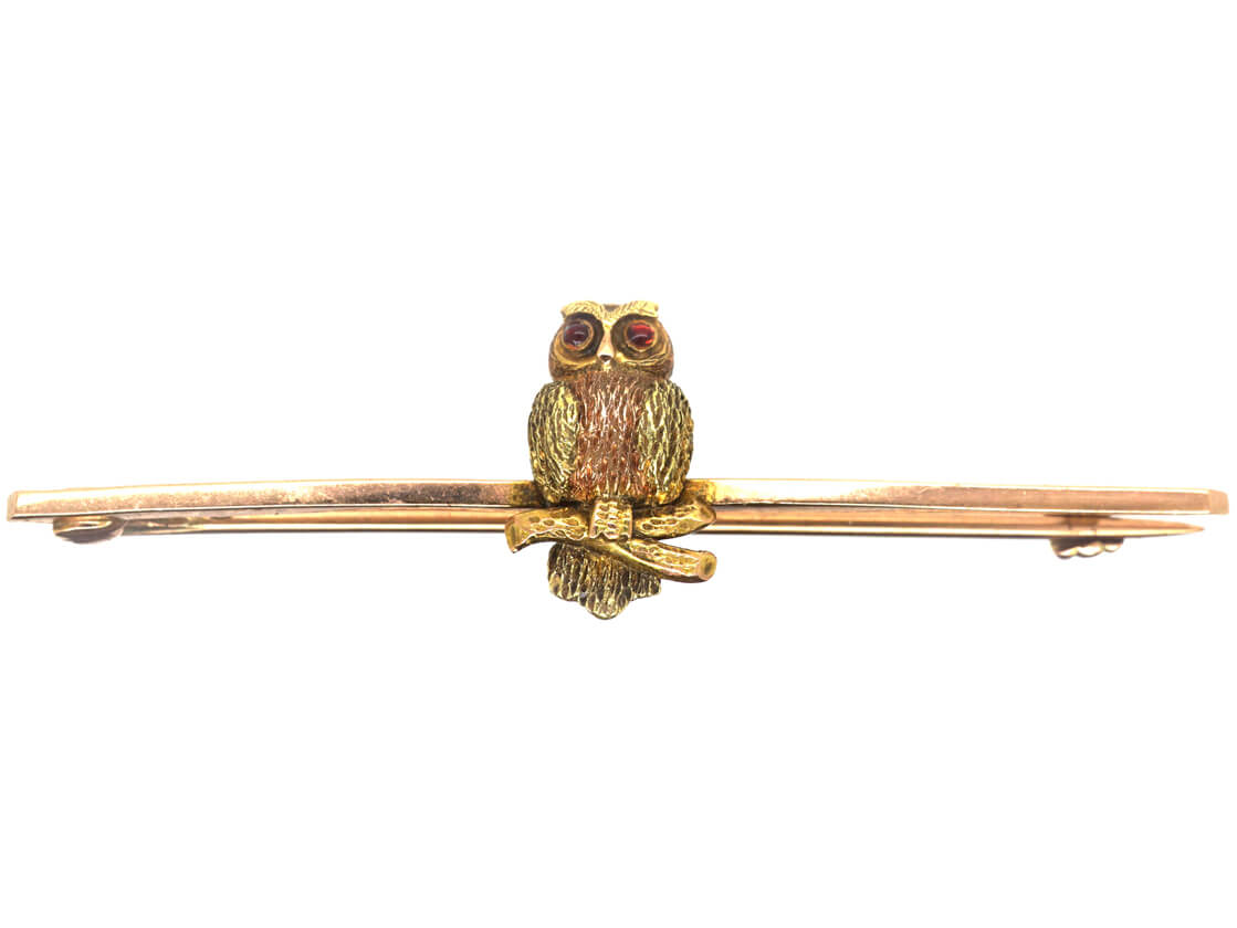 Edwardian Two Colour Gold 9ct Brooch of an Owl