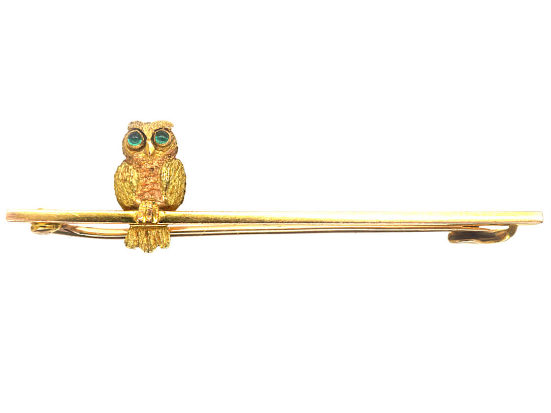 Edwardian 9ct Two Colour Gold Owl on a Bar