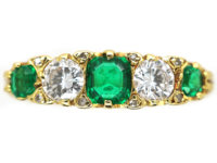 18ct Gold Emerald & Diamond Five Stone Ring made by Mappin & Webb
