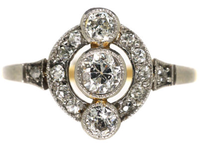 Art Deco 14ct Gold & Platinum Ring