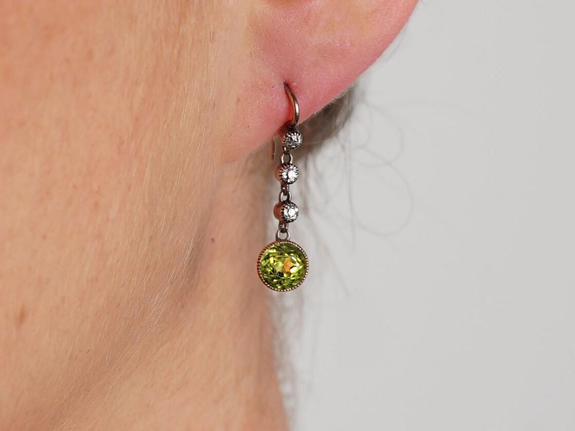 Edwardian 15ct Gold, Diamond & Peridot Drop Earrings