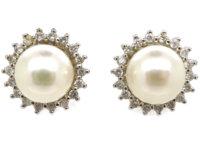 14ct White Gold, Pearl & Diamond Cluster Earrings