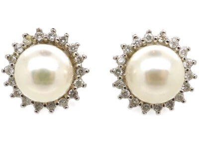 14ct White Gold, Pearl & Diamond Cluster Earrings