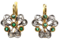 French 18ct Gold Emerald & Diamond Trefoil Earrings
