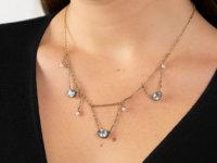 Aquamarine & Natural Pearl Gold Festoon Necklace