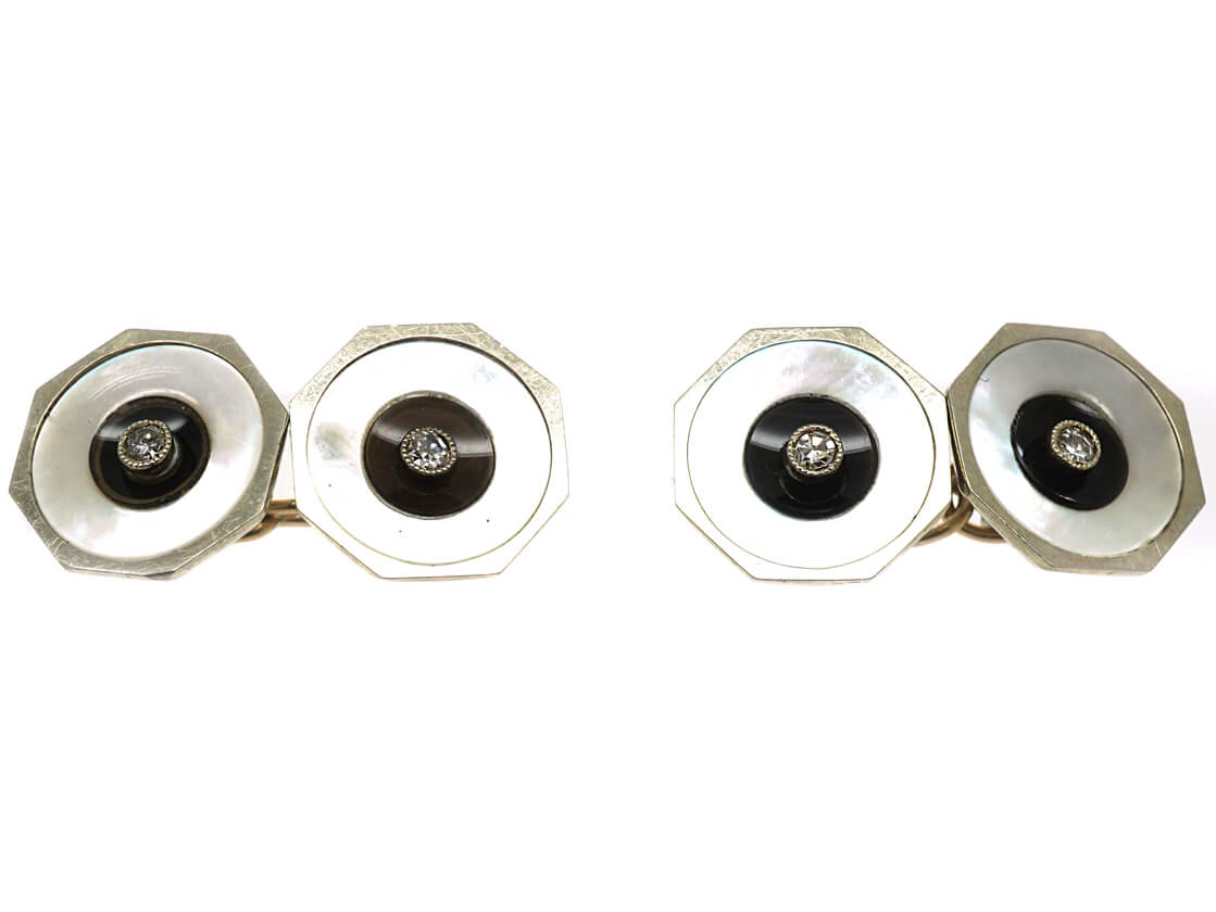 Art Deco 18ct White Gold Octagonal Shaped Cufflinks with Onyx, Mother of Pearl & Diamonds