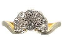 Art Deco 18ct Gold & Platinum Fan Shaped Diamond Ring