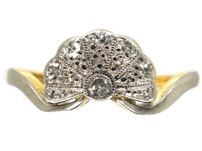 Art Deco 18ct Gold & Platinum Fan Shaped Diamond Ring
