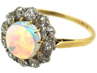 Edwardian 18ct Gold and Platinum, Opal & Diamond Cluster Ring