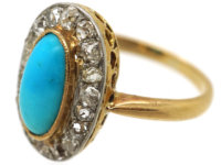 Edwardian 18ct Gold, Turquoise & Diamond Oval Cluster Ring