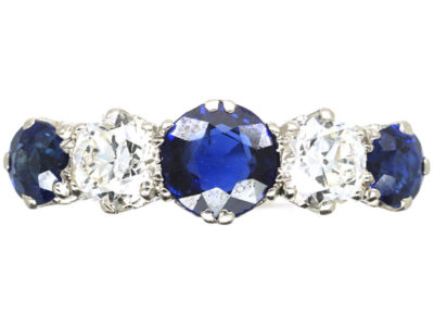 Art Deco Platinum, Sapphire & Diamond Five Stone Ring