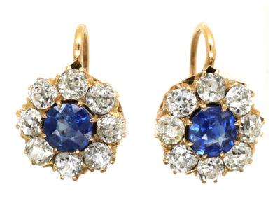 Edwardian 18ct Gold, Sapphire & Diamond Cluster Earrings