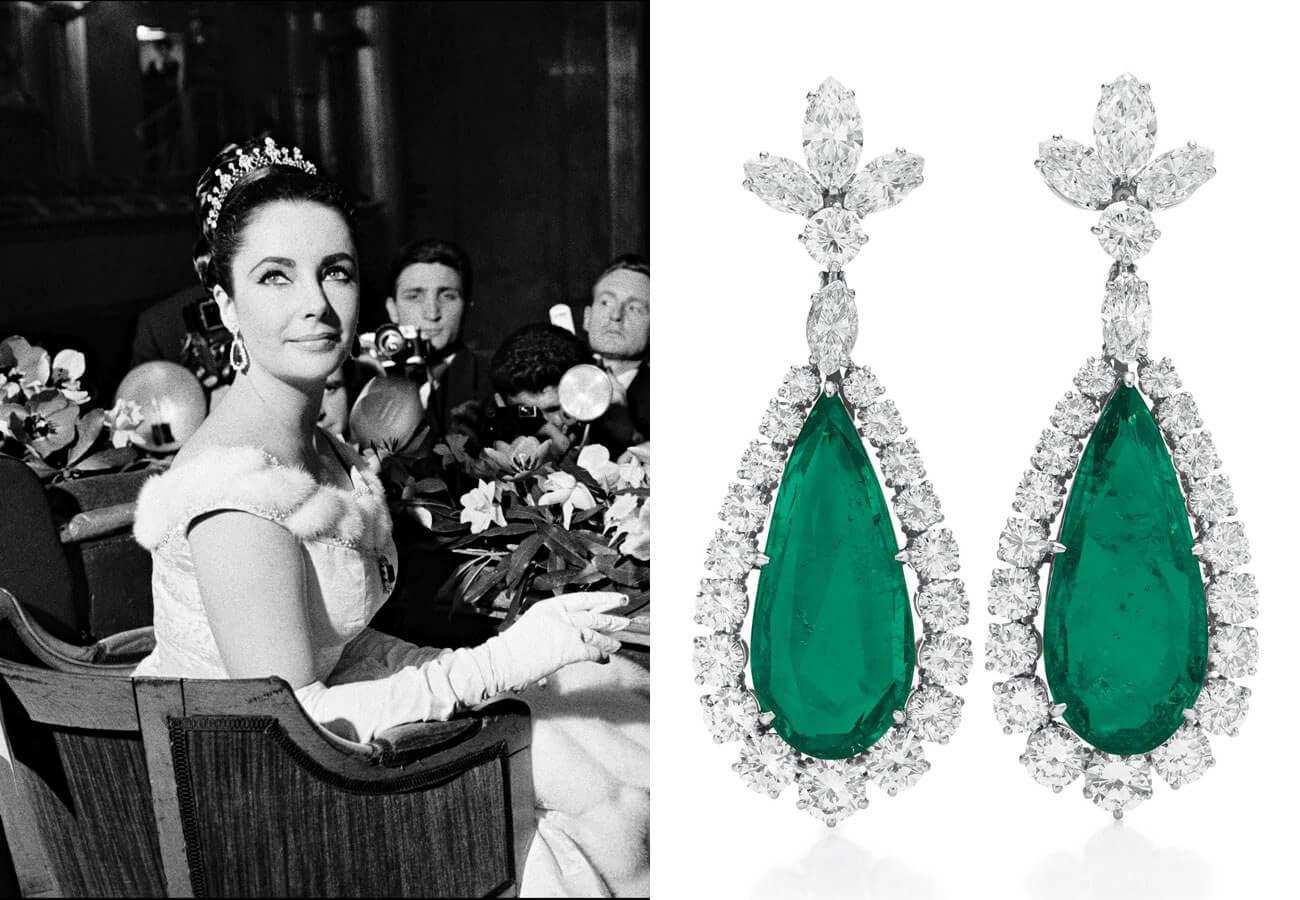 Elizabeth Taylor'e emerald earrings
