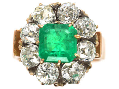 Retro 18ct Rose Gold Emerald Cluster Ring