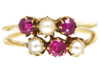 Edwardian 18ct Gold Two Row Ruby & Natural Pearl Ring