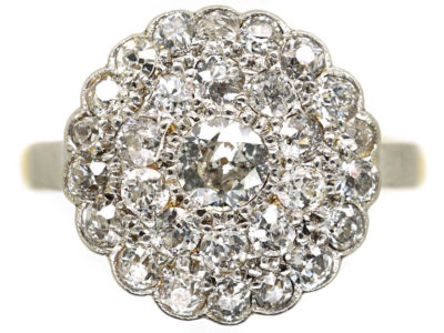 Late Edwardian 18ct Gold & Platinum, Diamond Triple Row Pave Set Cluster Ring