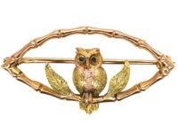 Edwardian 9ct Two Colour Gold Owl Brooch with Emerald Eyes