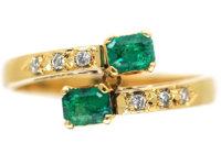 18ct Gold Emerald & Diamond Crossover Ring