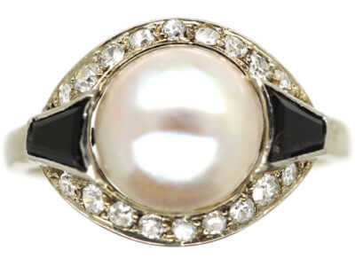 Art Deco 18ct White Gold, Onyx, Pearl & Diamond Ring