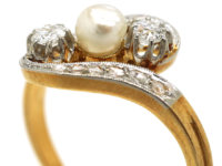 Art Nouveau 18ct Gold & Platinum, Diamond & Natural Pearl Crossover Ring